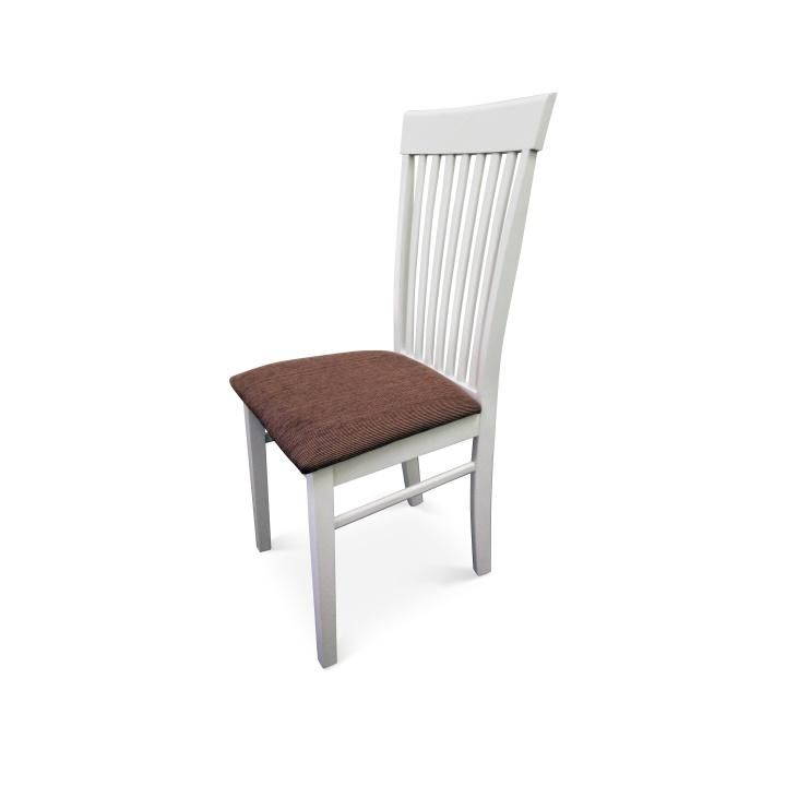 Klasická jedálenská stolička z prírodného masívu v bielom prevedení.