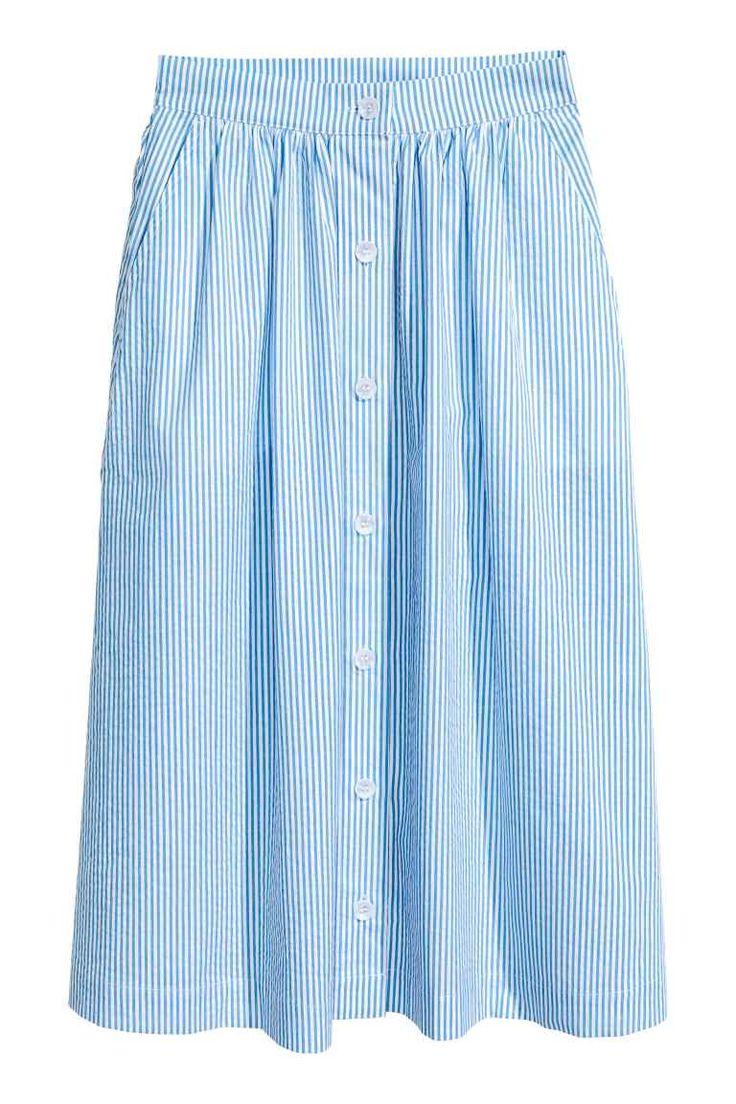 H&M NL Knielange rok - Lichtblauw/wit/gestreept print skirt light blue white stripes