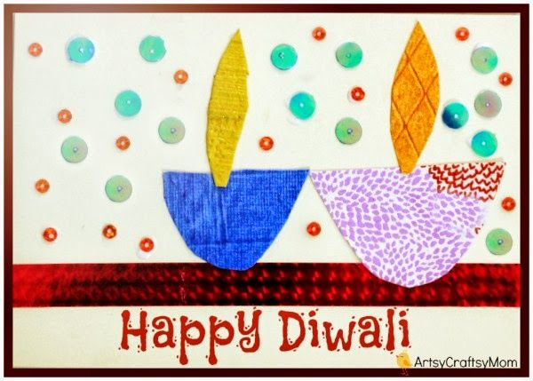 Diwali Handmade card for kids to make DIY Diwali Card 1 photo