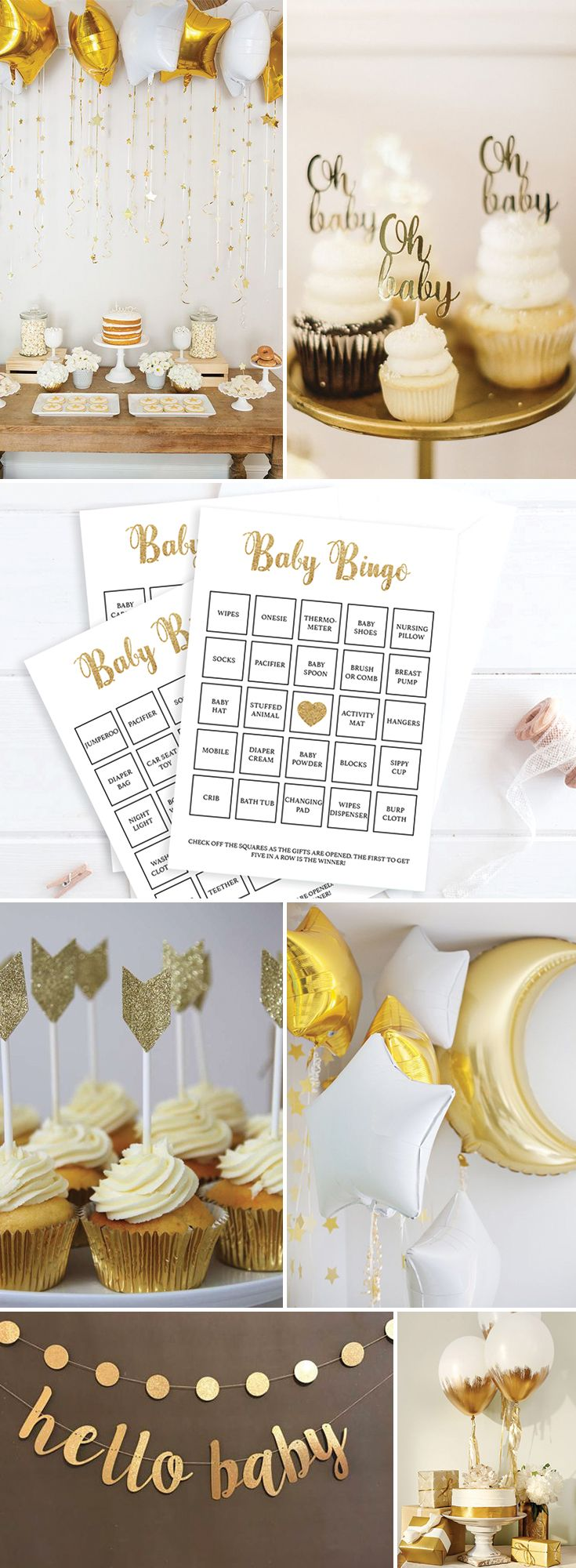 Gold Baby Shower Ideas by LittleSizzle. Twinkle Twinkle Little Star Gender Neutral. Printable Baby Bingo Game for large groups. The set has everything you need to play Baby Bingo in multiple ways. A blank card to be filled out by your guests, 30 pre-filled cards to make things easy and an editable PDF template for you to fill out with your own gift ideas or if you have more than 30 guests!
