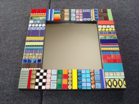 Color Stripes Mosaic Mirror.  I would make with all blue hues for my bath
