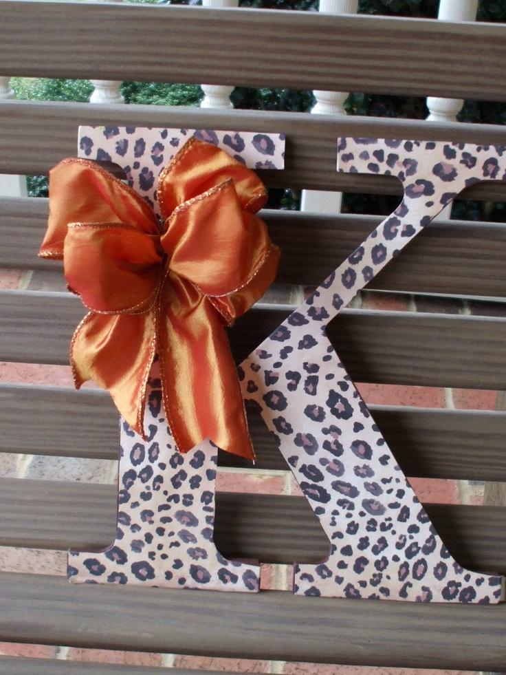"Letter ""K"", Decoupaged, Cheetah Print, Fall Decor, Teens Room,. $15.00, via Etsy."