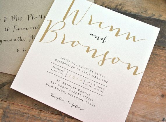 Square Bronson Wedding Invitation Suite With Ribbon Tie And Monogram Tag    Champagne Gold, Black