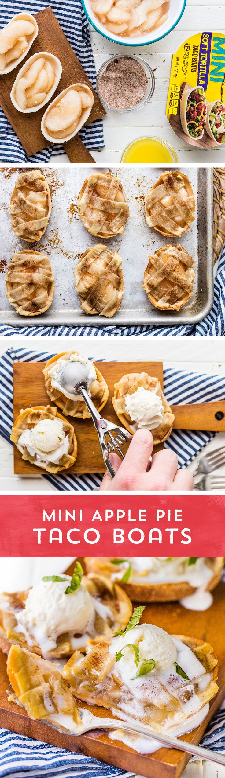 Need an impressive dessert in a hurry? Try these quick and easy Mini Apple Pie Taco Boats from @beckygallhardin! They're all the comfort you crave, in an easy to eat Old El Paso Mini Taco Boat™! Plus, they're ready to eat in just 30 minutes!