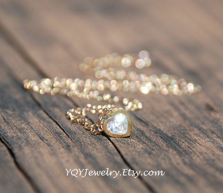 Tiny, Bling, HEART Necklace, 14K Gold Filled Necklace, Dainty Jewelry, Love Necklace, Mother's day gift, Bridesmaids gift. $28.00, via Etsy.