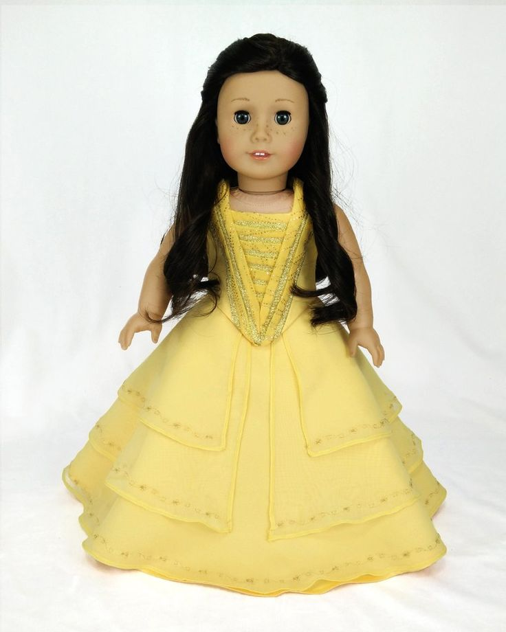 Turn your doll into Disney Princess Belle (Beauty and the beast) with this beautiful dress. The Blouse is full lined and the skirt is multi layered, it has a layer of matte satin fabric, 3 layers of c