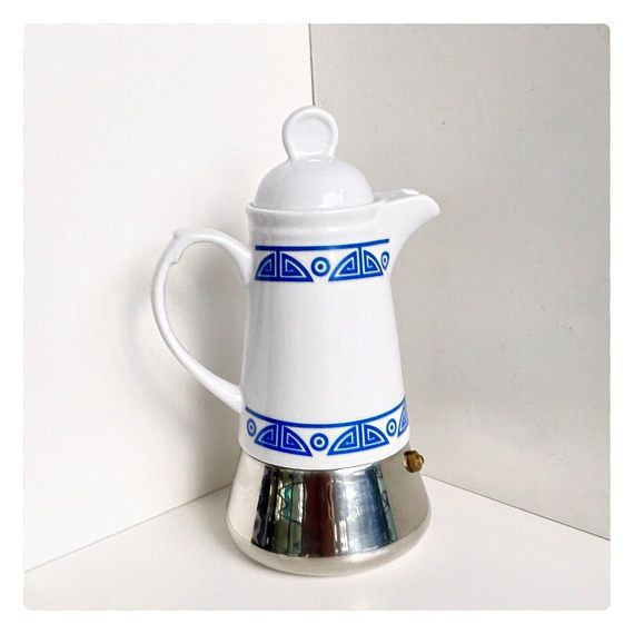 Vintage midcentury Italian coffee maker stove percolator