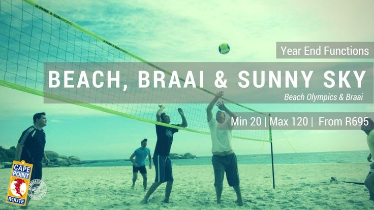 """Year End Functions - Beach, Braai & Sunny Sky  Let the Games Begin!  You will be separated into competing teams to see who becomes the """"Beach Olympic"""" team champions for your Company's Year End Function. This fun event will be followed by a relaxing seafood braai at the beach! Min 20 