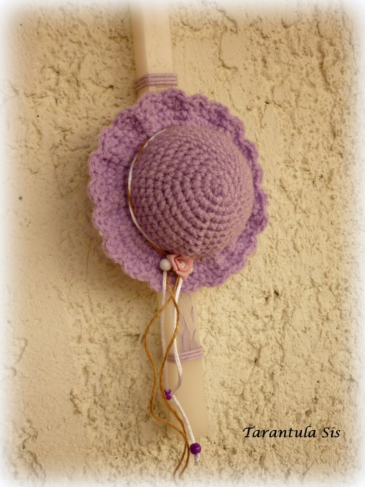 Easter candle decoration. Crochet spring hat