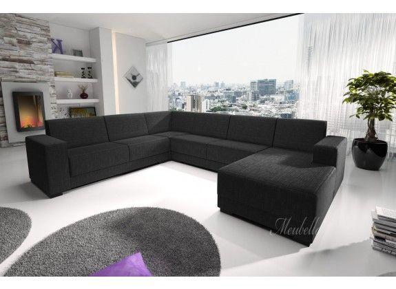 Hoekbank Genius is een ruime hoekbank met een strak en tijdloos design. Genius bestaat uit twee zitgedeeltes en een ruime lounge, zodat er voldoende zitplaatsen zijn voor het gehele gezin. De bekleding van de hoekbank is gemaakt van een fijne stof in een zwarte kleur.