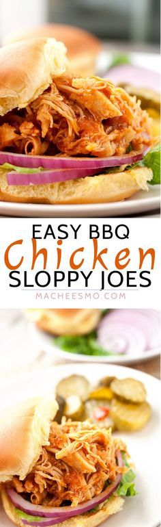 BBQ Chicken Sloppy Joes! These are perfect for a quick weeknight meal. They are fast to make from scratch or you can toss everything in a slow cooker and they are ready when you are! Great for a back-to-school, busy weeknight meal! | http://macheesmo.com