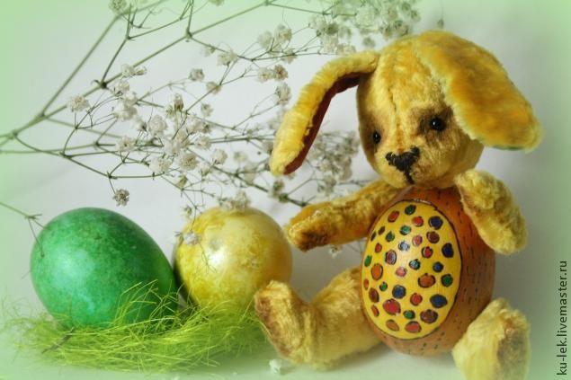 """Мастер-класс: """"Пасха в кармане"""" весенний зайка из дерева и плюша - Ярмарка Мастеров - ручная работа, handmade"""