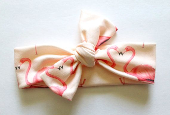 Organic knot headband, baby turban headband, flamingo print, adult, hair wraps, organic turbans on Etsy, $11.00