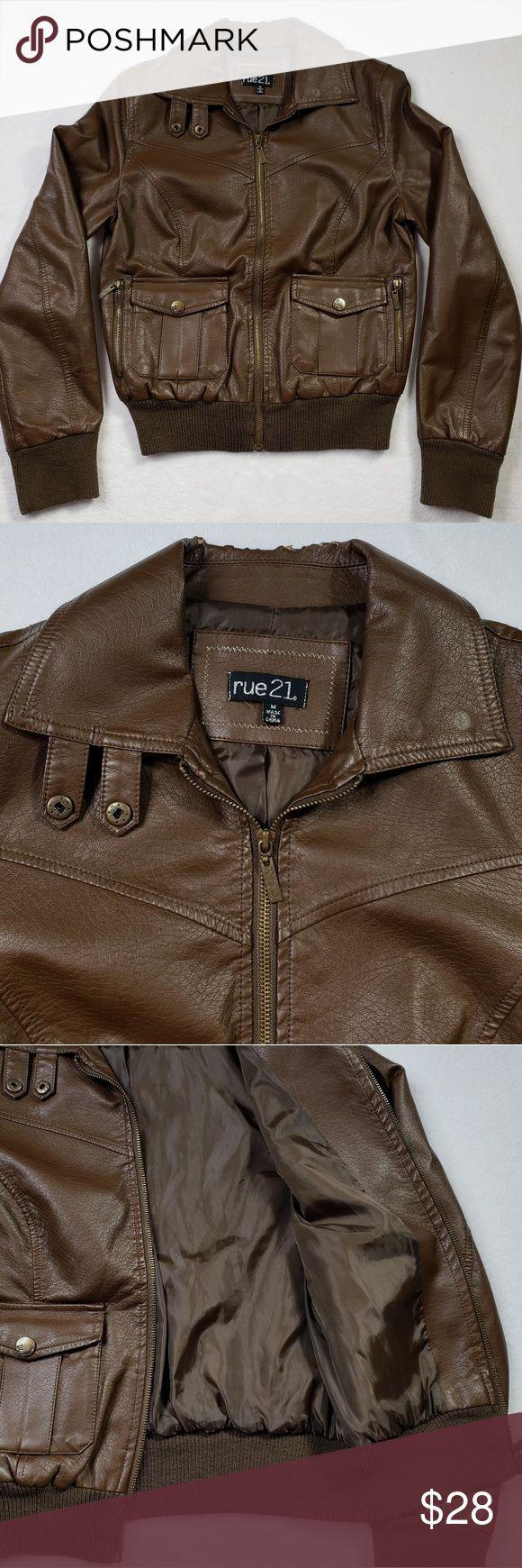 Rue 21 Brown Faux Leather Bomber Jacket sz Medium Faux