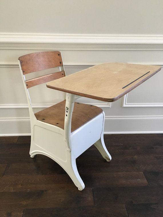 Vintage Child's School Desk White/ Ivory Metal & by babylamms