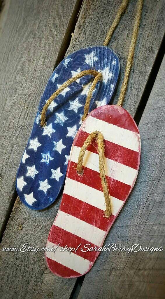 c130a75976b9 Flip Flop Decor - American Flag -Wooden Flip Flops -Summer ...