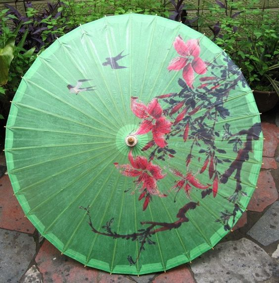 Lovely Chinese Green Bird Floral Oil Paper Painted Parasol