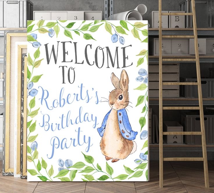 Customized birthday sign, Personalized Party Sign, Birthday Party Sign, Peter Rabbit Party, Beatrix Potter Party, Peter Rabbit Sign, Welcome by AdornMyWall on Etsy