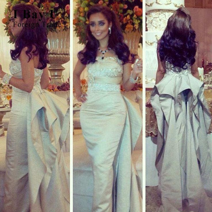 I Bay U Satin Clebrity Evening Dresses Robe Soiree Strapless Beads Ruffles Arabic Long Oscar Evening Dress Ariana Grande Dress