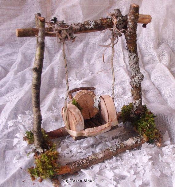 Columpio jardín hadas - muebles para terrarios o jardines en miniatura! OOAK