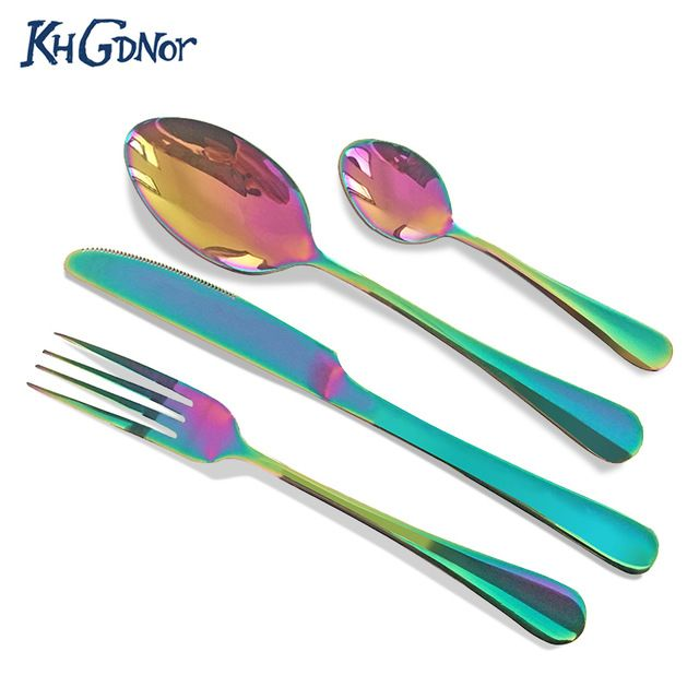 KHGDNOR 4 pcs Rainbow Conjunto de Talheres de Aço Inoxidável Faca Garfo Colheres de Cozinha Conjunto de Talheres Jogo de Jantar