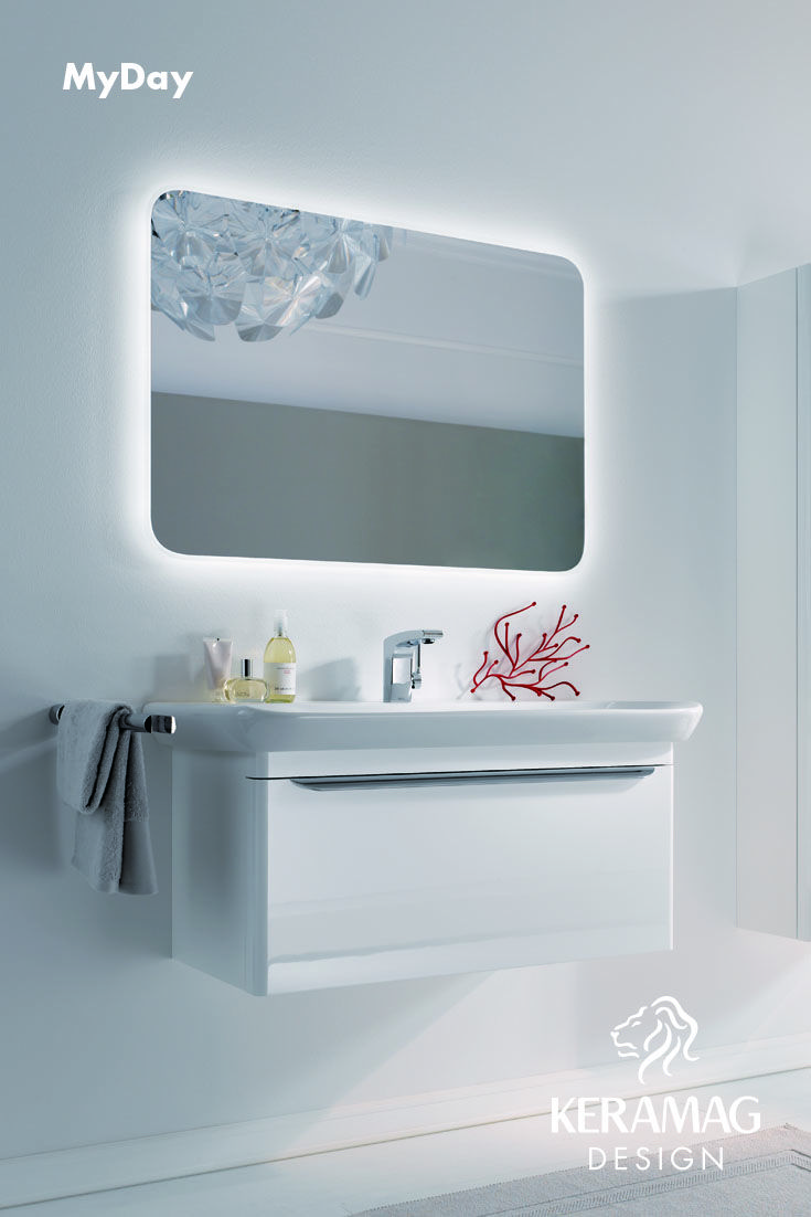 The myDay collection's long basin and furniture. Find more at: http://www.keramagdesign.com/