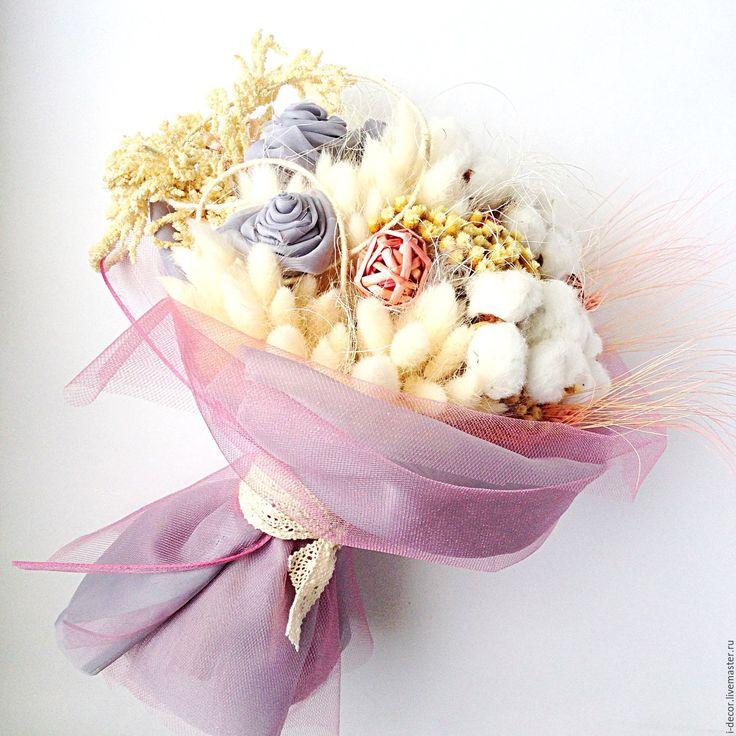 Купить Букет невесты Свадебный букет с хлопком - бледно-розовый, букет невесты