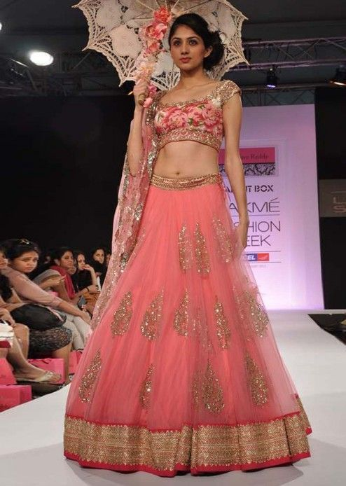 rose and gold lehenga with a floral blouse
