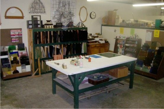 Stained glass studio set up