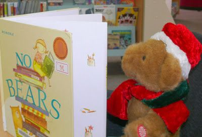 Christmas Adventures of Bing the Library Bear #15. Bing reads 'No Bears'.