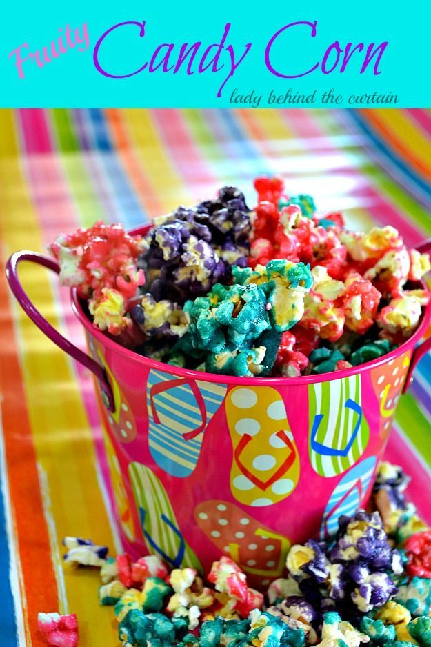 All you Need to do is see what flavor of jello your kids like to make great popcorn like you get at kernels. and it is way cheaper! Lady Behind The Curtain - Fruity Candy Corn