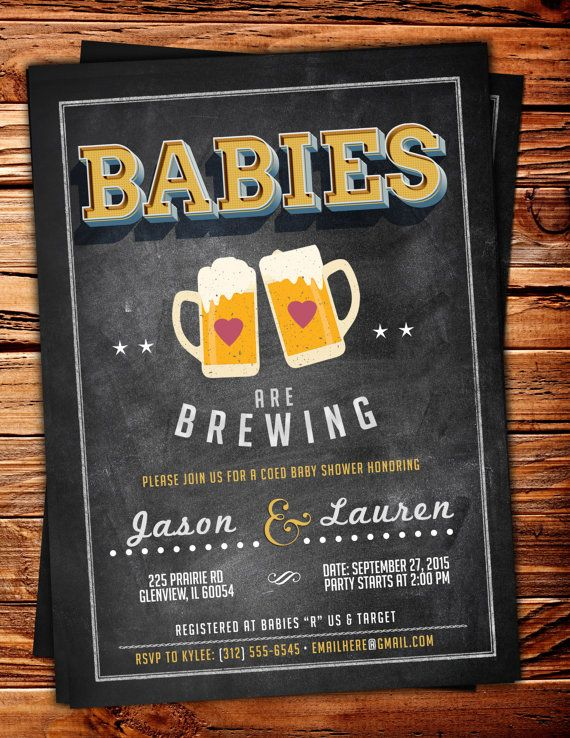 baby is brewing twins coed baby shower invitation by lyonsprints