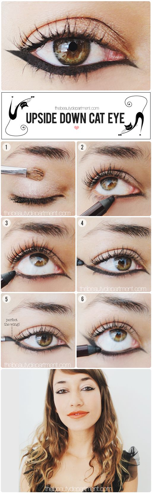 """thebeautydepartment.com upside down cat eye - I REALLY like this, but it took me about a year to get down the normal """"cat eye""""  -  I can only imagine how long THIS STYLE will take me! lol"""