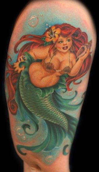 fat mermaid tattoo