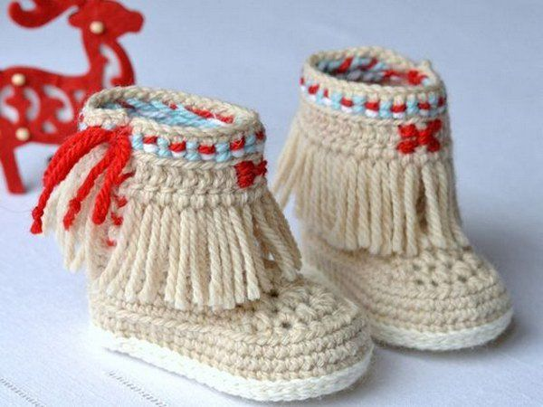 Crochet Baby Booties Fringe Moccasins.