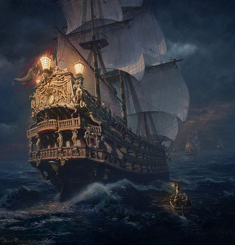 An amazing looking image o' a frigate t' say th' least! Makes me pirate blood go hot with yernin'!