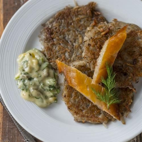 Rösti with Gribiche Sauce and Smoked Fish