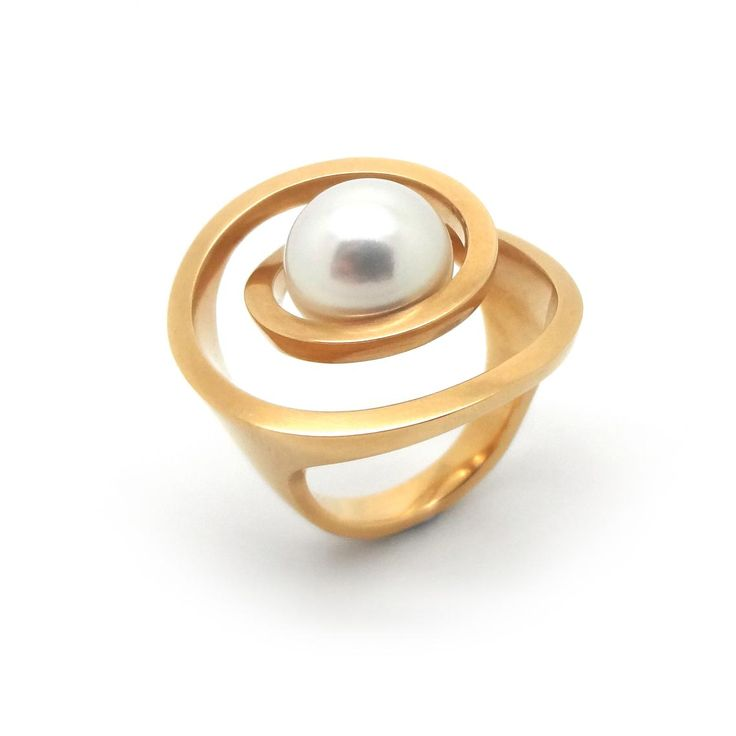 ORRO Contemporary Jewellery Glasgow - Angela Hubel - Rose Gold & Pearl Pirouette Ring - Modern Sculptural Rings by Angela Hubel at ORRO Jewellery Glasgow