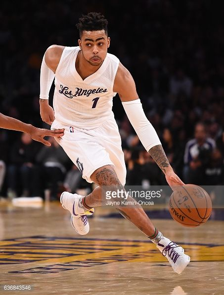 News Photo : D'Angelo Russell of the Los Angeles Lakers takes...