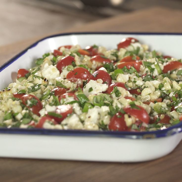 Megan is bringing you this Grilled Corn, Tomato and Basil Salad!