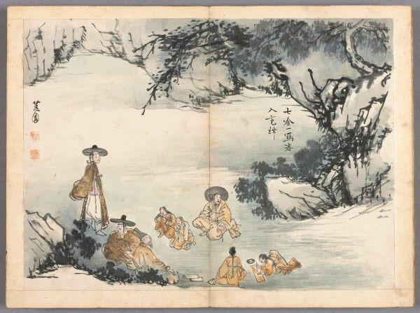 Album : scène de genre (détail), Shin Yun-Bok, vers 1816, Encre et couleurs sur papier. © Musée Guimet, Paris, Dist. RMN-Grand Palais / Jean-Yves et Nicolas Dubois.