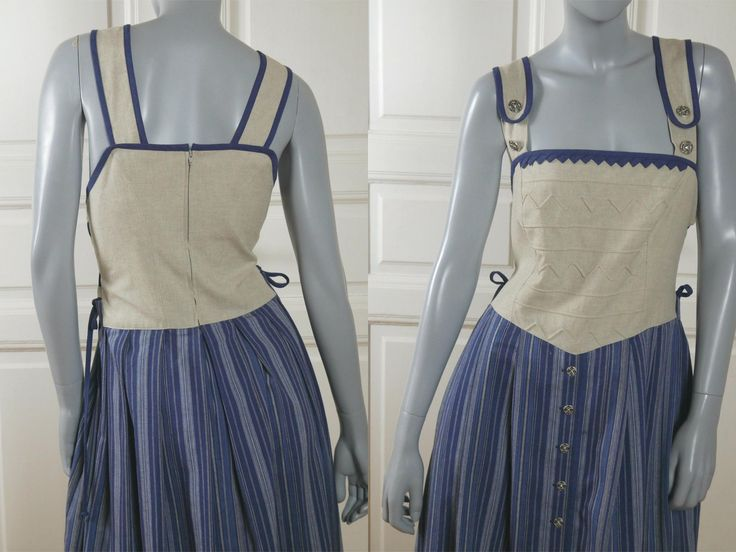 Octoberfest Outfit Dirndl Dress, German Vintage Bavarian Folk Festival Dress w Linen Bodice: Size 14 US, Size 18 UK by YouLookAmazing on Etsy