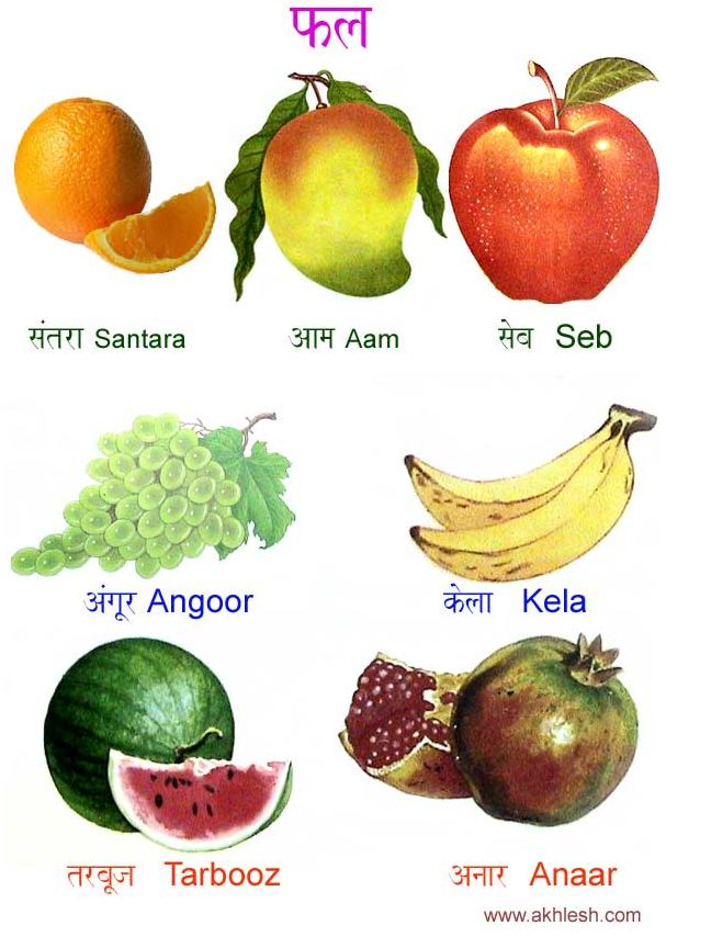 Fruit names in Hindi! Love the drawings!