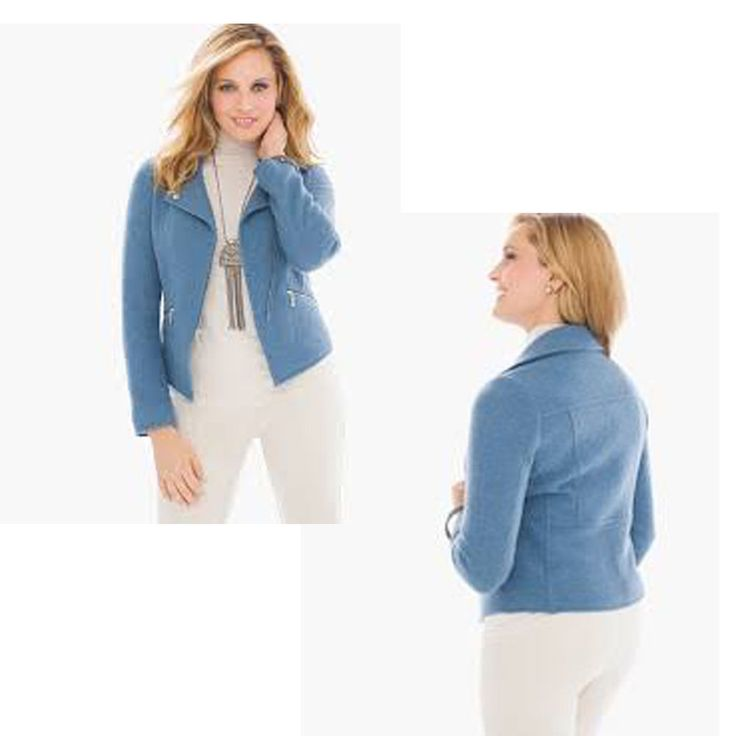$149 Chico's boiled wool Blue moto jacket Blazer Sz 3 XL XXL EUC zipper #Chicos #Motorcycle #Casual