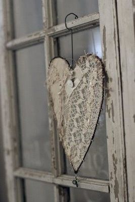Wire hanger lace heart ~ love it!                                                                                                                                                                                 More