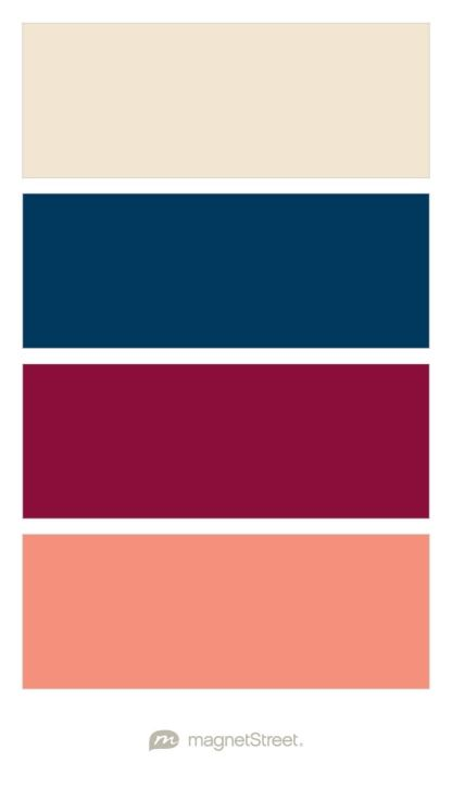 Champagne, Navy, Burgundy, and Coral Wedding Color Palette - custom color palette created at MagnetStreet.com
