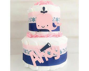 Diaper Cake - Diaper Cake For Girls - Nautical Diaper Cake - Whale Diaper Cake - Nautical Baby Shower Decor - Whale Baby Shower Decor