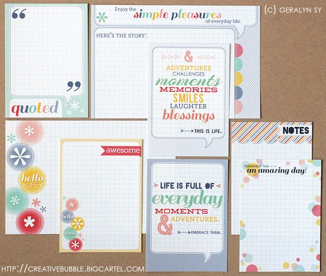 Cute Project Life Journaling Cards @Matty Chuah Creative Bubble