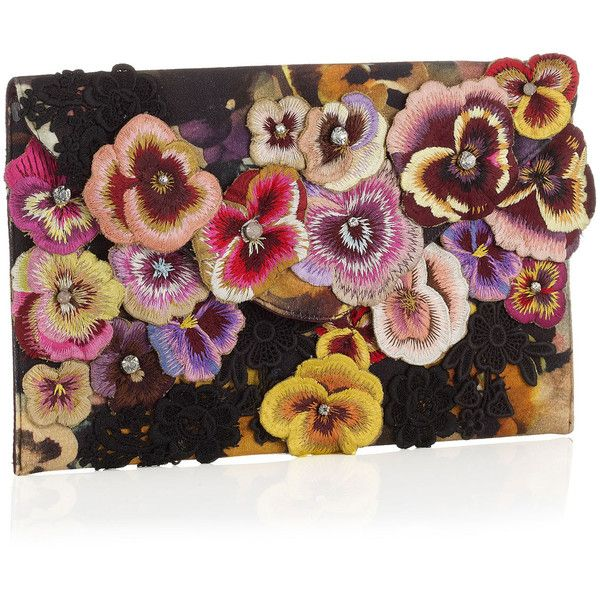 Accessorize All Over Pansy & Lace Envelope clutch ($18) found on Polyvore