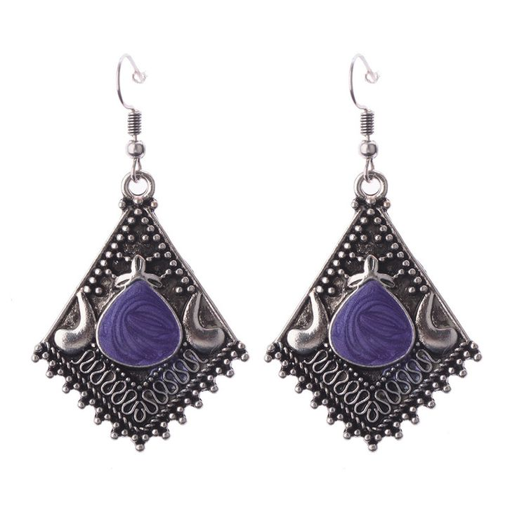 Silver Rhomboid Shaped Tribal Earrings Nepal India //Price: $7.95 & FREE Shipping //     {#ethnic #fashion #style #traditional |#indian #beautiful #unique| #love #shopping | #ethnicwear #etnik |#vintage #dress | #bohochic #indianwear| #art  #hippie |#beauty #fashion | #sale #design |#onlineshopping #accessories | #Indean #Japanese #african